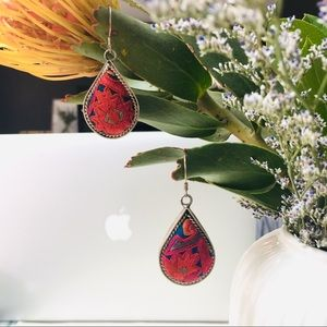 Embroidered Hanging Tear Drop Silver Earrings